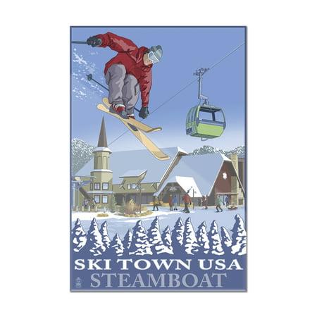 Steamboat, Colorado - Ski Town USA - Lantern Press Artwork (8x12 Acrylic Wall Art Gallery