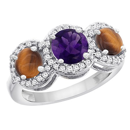 14K White Gold Natural Amethyst & Tiger Eye Sides Round 3-stone Ring Diamond Accents, size 9