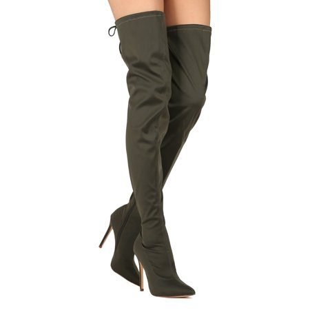 603b08b5a33 Liliana - Women Thigh High Pointy Toe Stretchy Drawstring Stiletto Boot  HE43 - Walmart.com