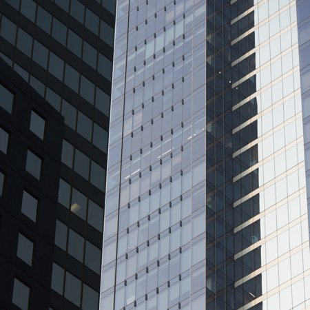 Side of an office towers with glass wallsChicago illinois united states of america Canvas Art - Keith Levit  Design Pics (15 x 15)