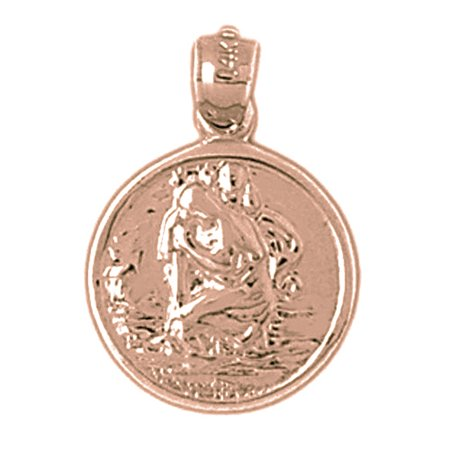 Rose Gold Plated 925 Sterling Silver St  Christopher Pendant   22 Mm  Approx  2 04 Grams