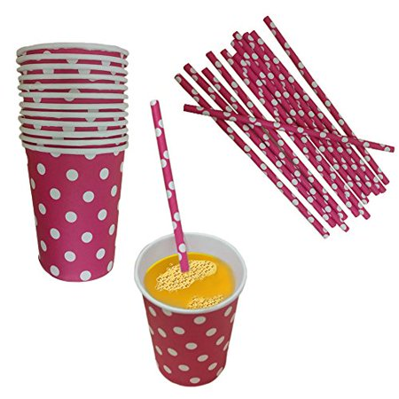 Pink And White Polka Dot Paper Cup And Straw Set- Pack Of 24- Includes 12 Polka Dot Cups And 12 Polka Dot Straws. Great for Parties, Birthdays, Holidays And Much More!! (Pink And White Polka Dot Paper)