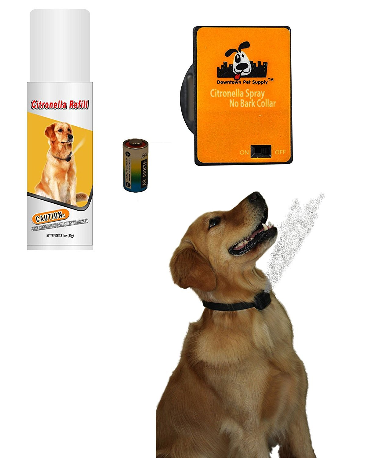 NO BARK Collar Citronella Spray Anti-Bark collar for Dogs Kit Safe, Effective, and Humane Dog Barking Control collar by Downtown Pet Supply