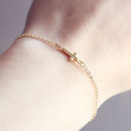 KABOER Simple Cross Bracelet Gold Tiny Elegant Charm Dainty Handmade Bracelet Chain for Ladies Girls Gold Handmade Bracelets