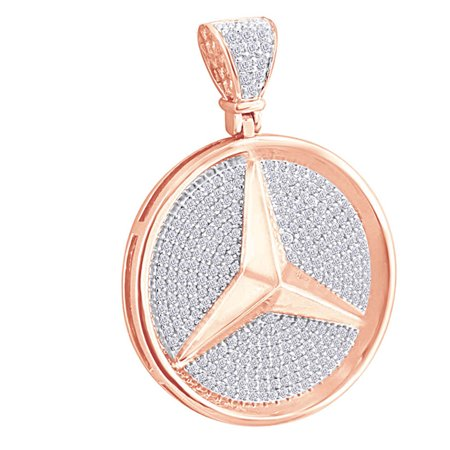 0.1 Cttw Round White Natural Diamond Hip Hop Jewelry Luxury Car Logo Charm Pendant In 10k Solid Rose Gold ()