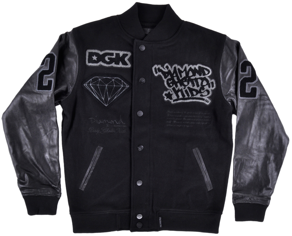 Diamond Supply Co x DGK Letterman Jacket Wool Leather Mens Skate Outerwear by DIAMOND SUPPLY CO X DGK