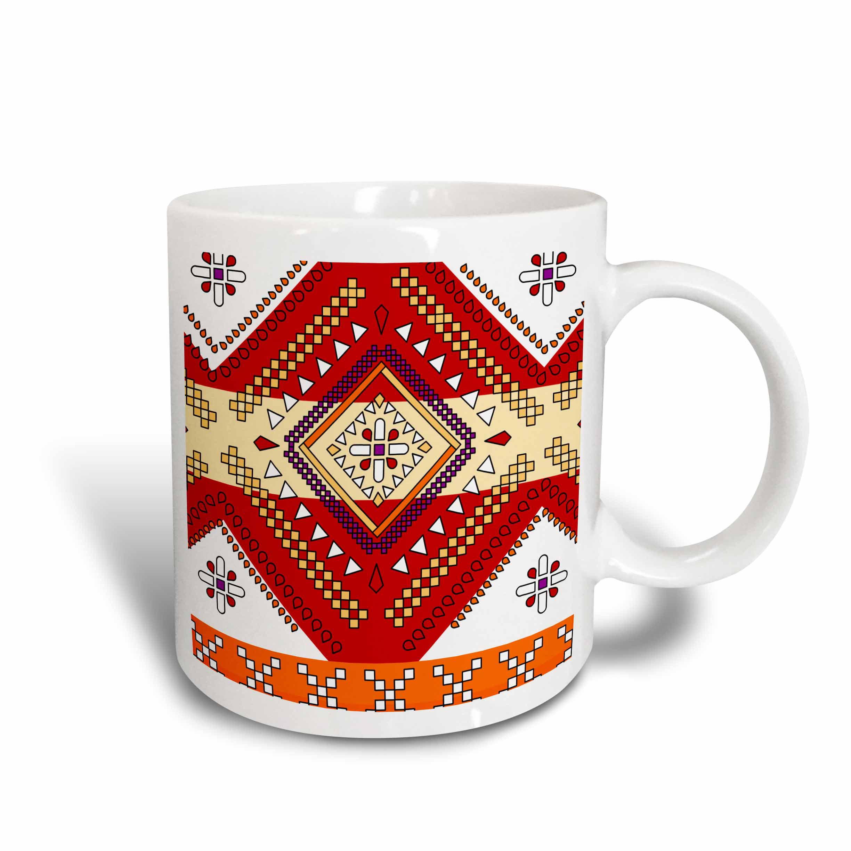 3dRose Aztec Andes Tribal Diamond Pattern Red and Orange, Ceramic Mug, 11-ounce