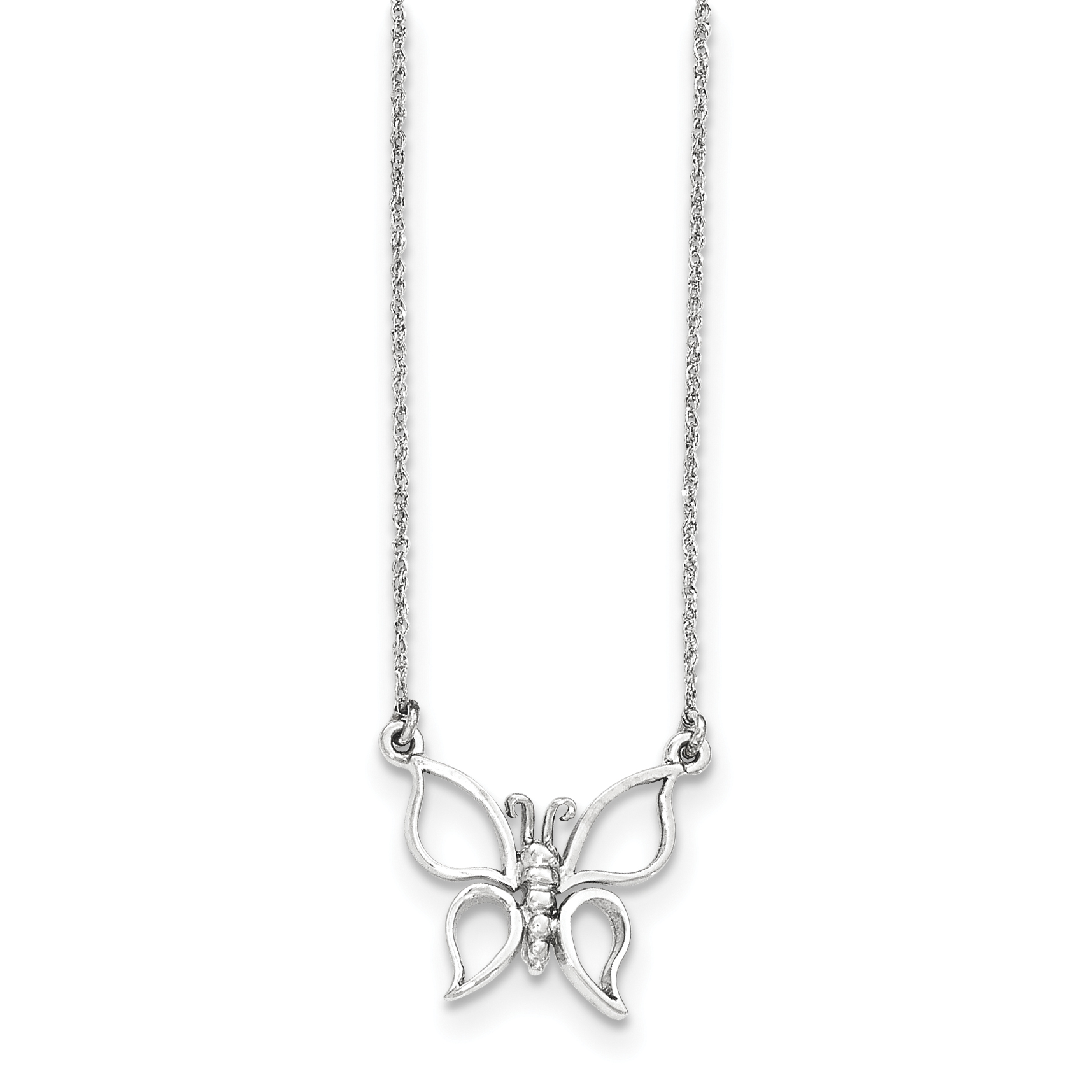 14k Solid White Gold Polished Butterfly Necklace