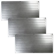 Wall Control Pegboard Value Pack - (3) Pack of Wall Control 16-Inch Tall x 32-Inch Wide Horizontal Steel Pegboards for Wall Home & Garage Tool Storage Organization (Metallic Galvanized Pegboard)