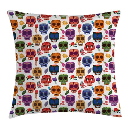 Day Of The Dead Decor Throw Pillow Cushion Cover, African Tribal Wooden Scary Mask with Cartoon Funny Details Art Print, Decorative Square Accent Pillow Case, 18 X 18 Inches, Multicolor, by Ambesonne (Funny Scary Masks)