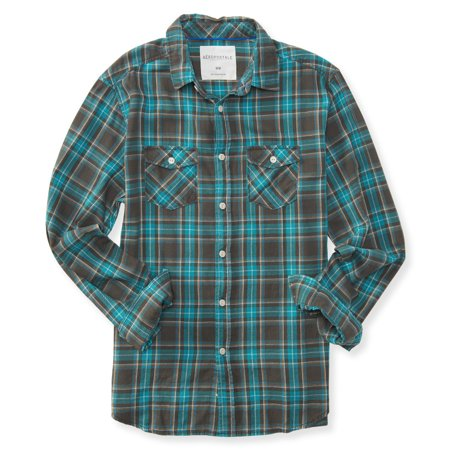 Aeropostale mens flannel button up shirt for Button up flannel shirts