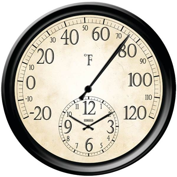 """14"""" Decorative Thermometer with Clock"""