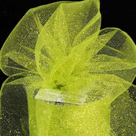 Designer Lime Green Glitter Tulle Craft Ribbon 6
