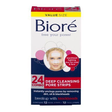 Biore Deep Cleansing Nose/Face Combo Pore Strips, 24 ct