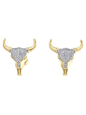 10K Yellow Gold Diamond The Mad Bull Rock Studs 15mm Mens Pave Earrings 0.15 CT.