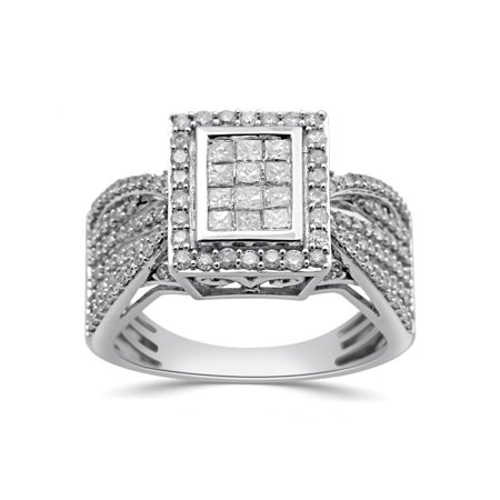 - 1 Carat T.W. Princess and Round Diamond 10kt White Gold Engagement Ring