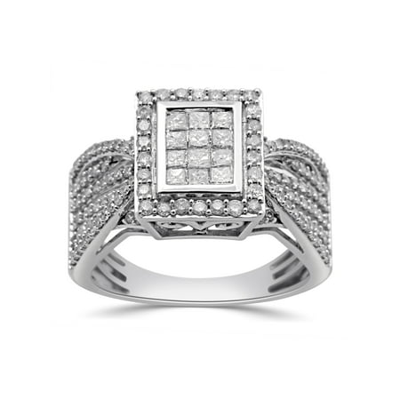 1 Carat T.W. Princess and Round Diamond 10kt White Gold Engagement