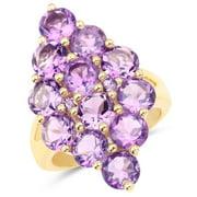 Malaika 14k Yellow Goldplated Sterling Silver 6 4/5ct Amethyst Ring Size-6, Purple
