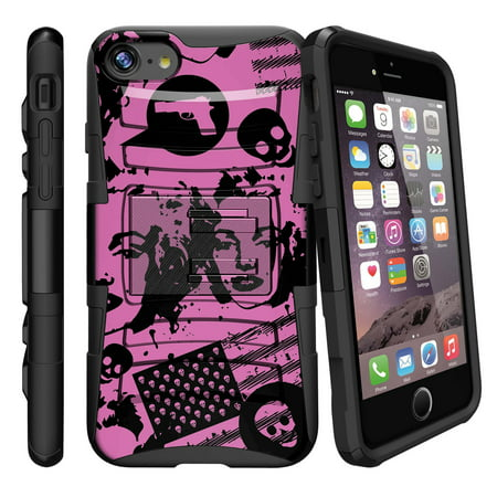 Apple iPhone 7  Case Shell [Clip Armor]- Premium Defender Case Hard Shell Silicone Interior with Kickstand and Holster by Miniturtle® - Marilyn Never