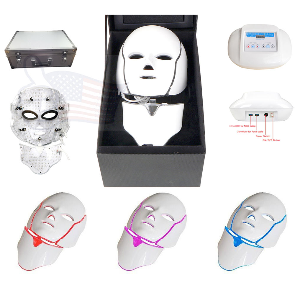 192LED Mask Therapy Magic Light Skin Rejuvenation Anti-aging Facial & Neck Mask 3 Colors Remedy Phytoplex Nourishing Skin Cream 2 oz, 24 Count