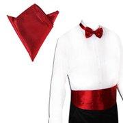 TopTie Men's Cummerbund & Bowtie & Handkerchief Box-packed, Christmas Gift Idea-Burgundy