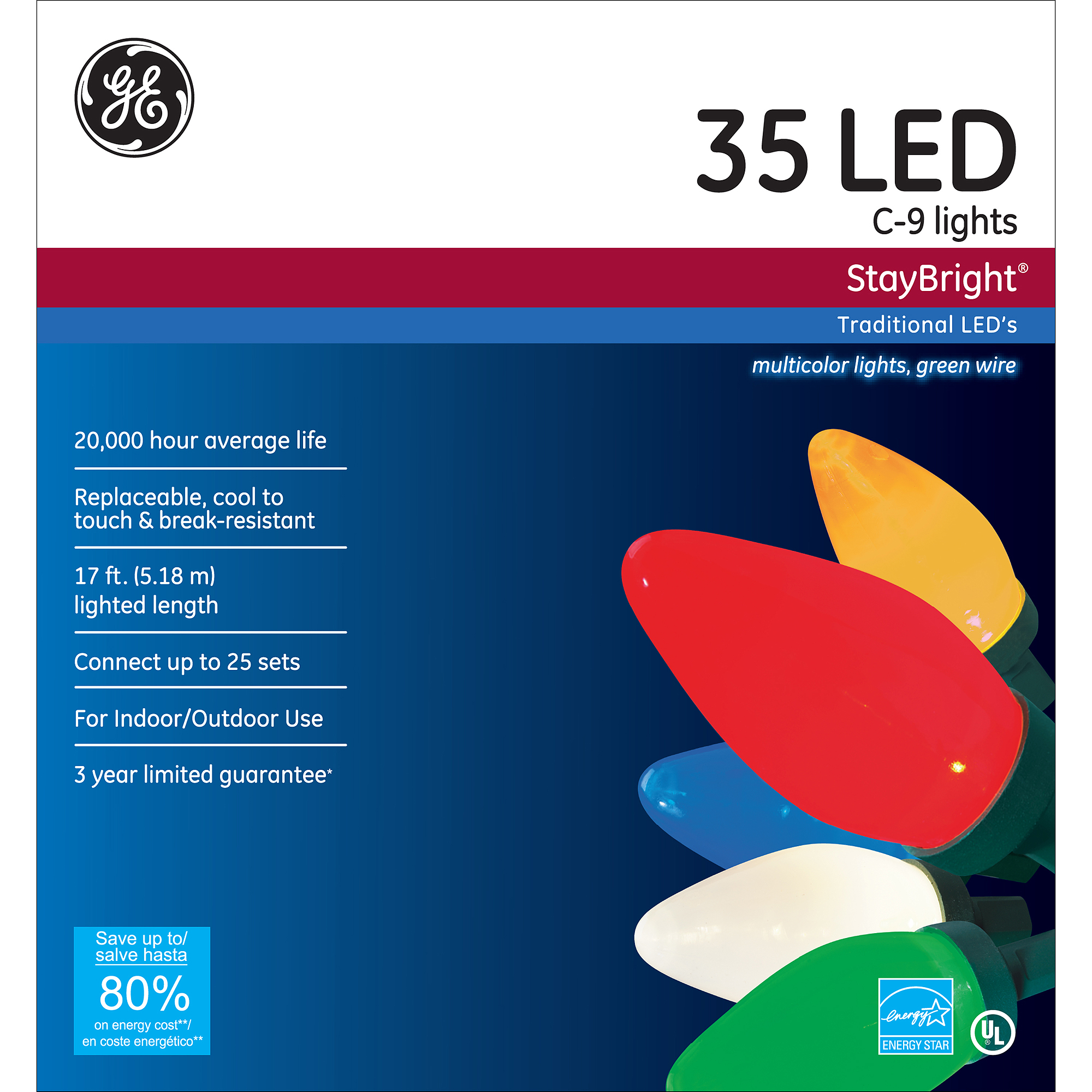 GE StayBright Multi-Colored C9 LED String Set, 35 Count