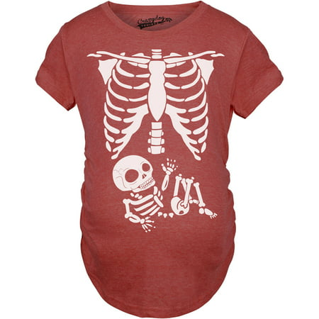 Maternity Skeleton Baby T Shirt Funny Cute Pregnancy Tee For Mothers (Maternity Skeleton Halloween Shirt)