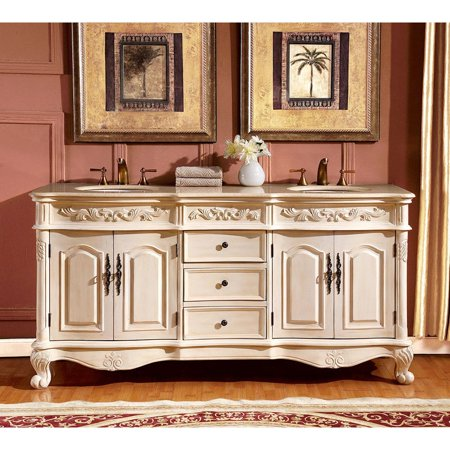 (Silkroad Exclusive  72-inch Crema Marfil Marble Stone Top Bathroom Double Sink Vanity)