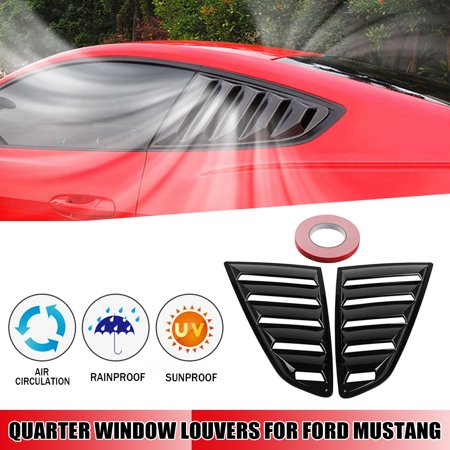 2x  1/4 Quarter Side Window Scoop Louver Cover For Ford Mustang 2015-2017 Black Painted