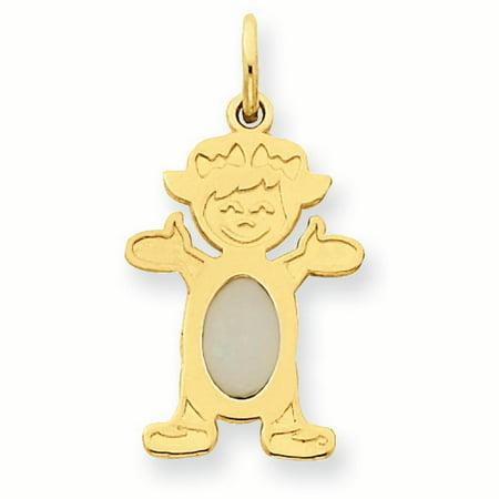 14K Yellow Gold 6 x 4 Oval Genuine Opal October Birthstone Girl Charm Pendant