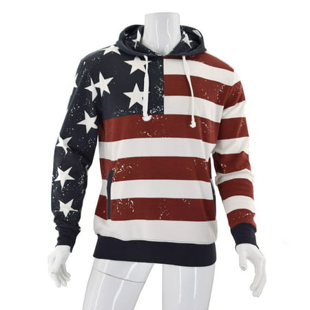 New with Tags Mens American Summer Patriotic American Flag Print Hoodie