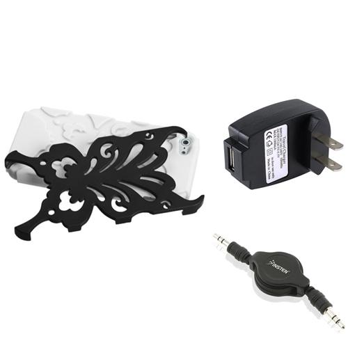 Insten Wall Charger+Audio Cable+Black/White Butterflykiss Hybrid Case For Apple iPhone 5 / 5s