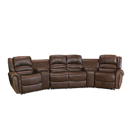 Lyke Home Aail Brown Leather Gel Movie Theater Recliner Seats