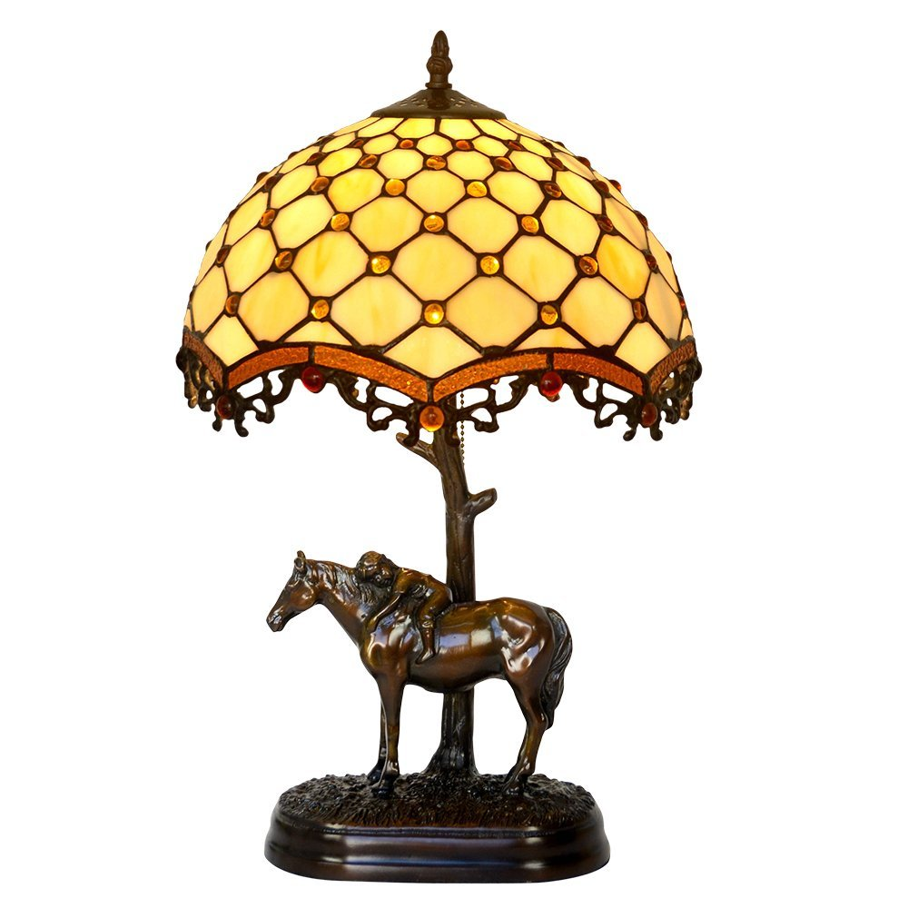 Bieye L10019 12-inches Pearls Tiffany Style Stained Glass Table Lamp with 100% Brass Horse Base, 19-inch in Height