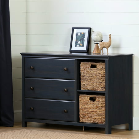 South Shore Cotton Candy 3-Drawer Dresser with Baskets, Blueberry ()