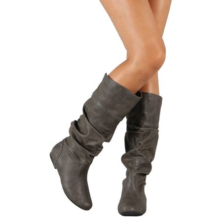 e176f0548d61 Womens Slouch Mid-Calf Boots Ladies Flat Slip On Knee High Boot Shoes Casual  - Walmart.com