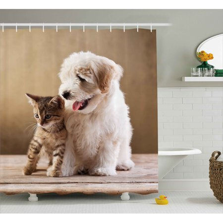 Animal Shower Curtain Cute Baby Cat Kitten And Puppy Dog Best Friends Image Photo Artwork