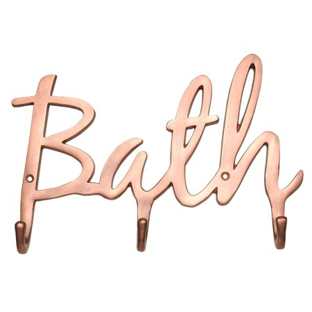 "Modern Wall Mounted ""Bath"" Bathroom Towel Hooks – Contemporary Bath Towel Holder 3 Sturdy Hooks – Wall Hooks Rack for Towels, Robes, Bathroom Accessories - Luxury Font Design, 3 Bath - Kids Bathroom Accessories"