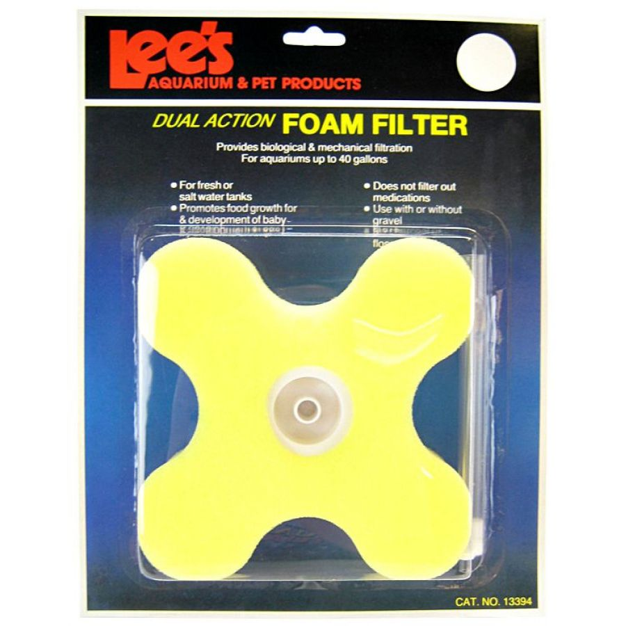 "Lee's Clover Dual Action Foam Filter - (Up to 40 Gallons) 5.5""L x 5.5\""W x 1.75\""H - (Up to 40 Gallons)"