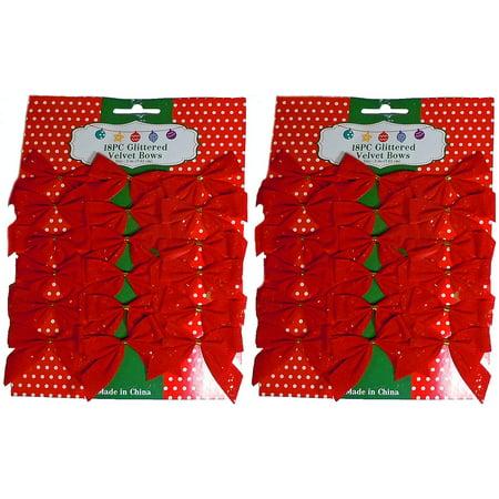 """3"""" Mini Red Glitter Velvet 2 Loop Bow W/Gold Foil Tie Back (36 Pack)"""