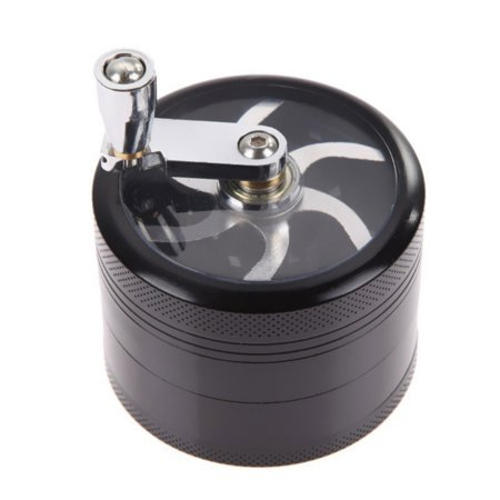 4 Layer Aluminum Diameter 44mm Handle Herb Grinder Spice Miller
