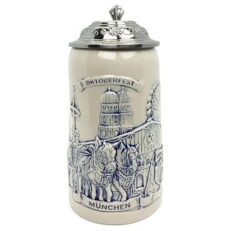 Stoneware Munich Beer Wagon Lidded 1L Stein