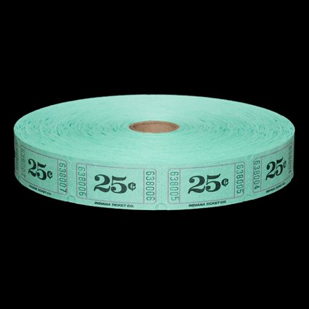 Roll Tickets - 25 Cent Green - 2000 per roll](Custom Roll Tickets)