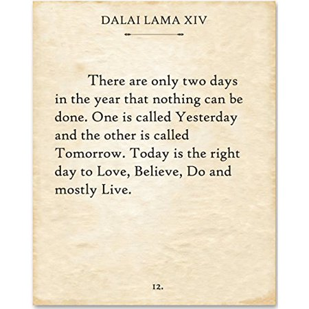 Dalai Lama - There Are Only Two Days. - 11x14 Unframed Typography Book Page Print - Great Gift for Book Lovers Tony Lama Stars