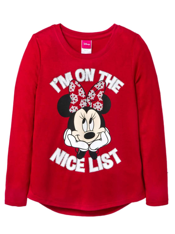 Disney Girls Minnie Mouse Holiday Shirt On the Nice List Christmas T-Shirt