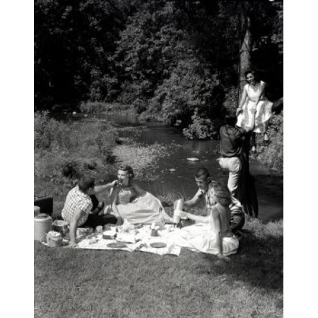 Young People Having Picnic On River Bank Poster Print