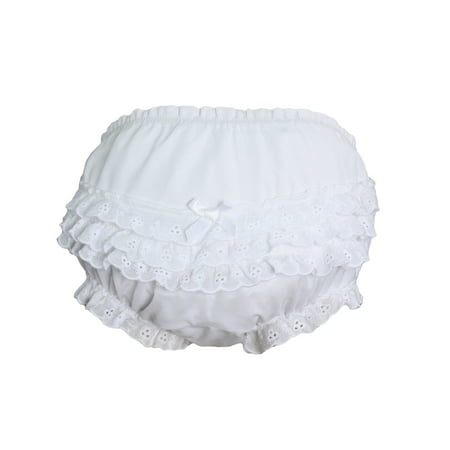Cloth Diaper Cover (Baby Girls White Elastic Bloomer Diaper Cover with Embroidered Eyelet Edging)