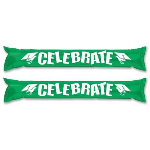 "Club Pack of 24 Kelly Green ""Celebrate"" Inflatable Make Some Noise Party Sticks 22"""