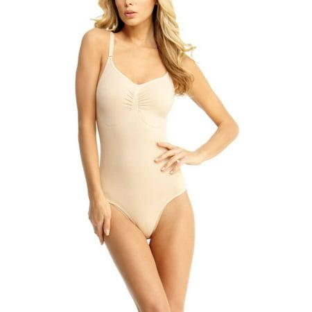 Nude Body Suit (SlimMe MeMoi Thong Bodysuit Shaper | Top Women's SlimMe Shapewear Small / Nude)