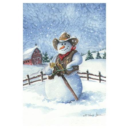 Toland Home Garden Cowboy Snowman Flag
